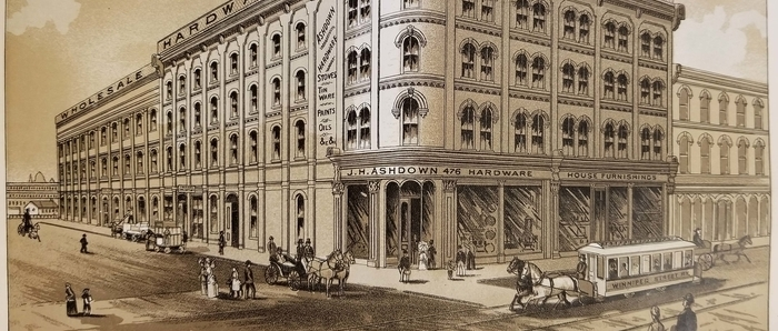 Lithograph print of the first Ashdown Warehouse, 1888