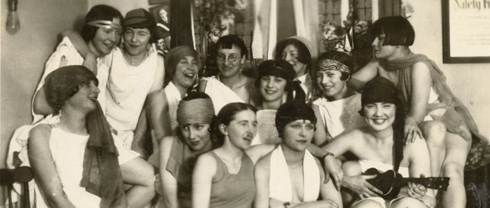 This image shows a group of Sparling Hall residence students dressed for a party in approximately 1926.